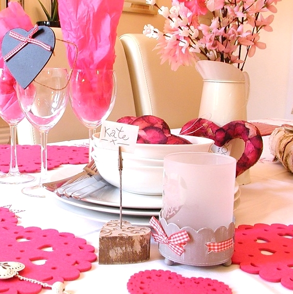 Valentines Day Table Setting Pink Decoration