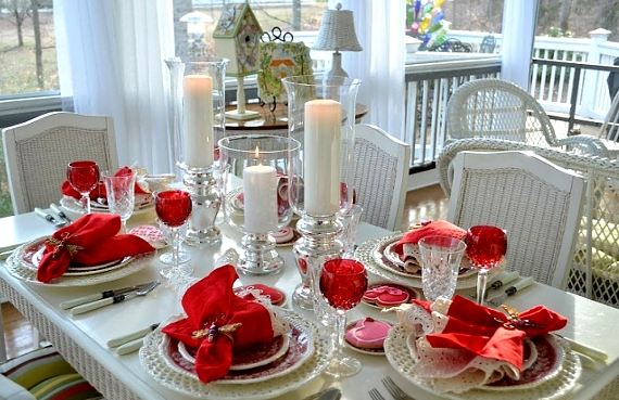 Valentines Day Table Setting Red Love